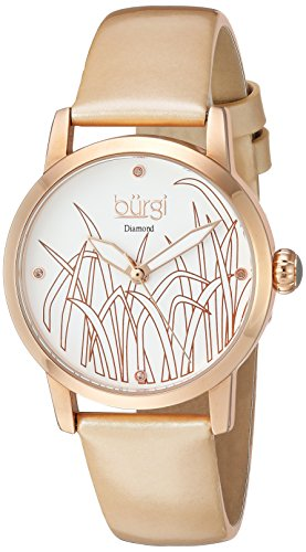 Burgi Women's Quartz Stainless Steel and Leather Casual Watch, Color:Gold-Toned (Model: BUR173GLD)