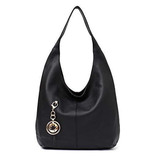 Skin Cow Leather Handbag - Women Hobo Bags STEPHIECATH Fashion Luxury Cow Leather Soft Tote Shoulder Bag (BLACK)