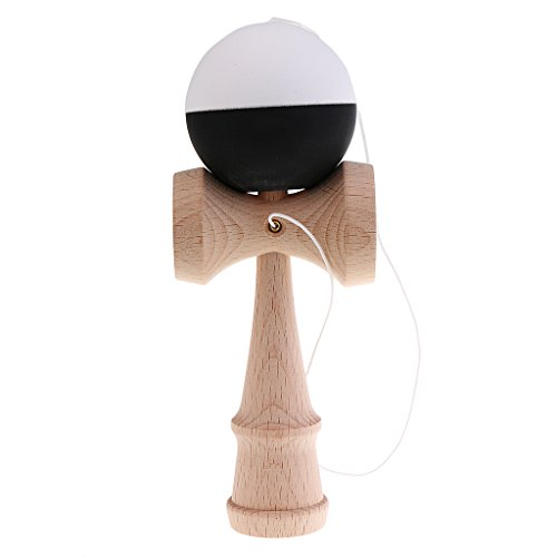 Jili Online Japan Kendama Wooden Cup Ball String Stick Sports Game Skill Toy Xmas Gift Black White (Japanese Wooden Toy With Ball And String)