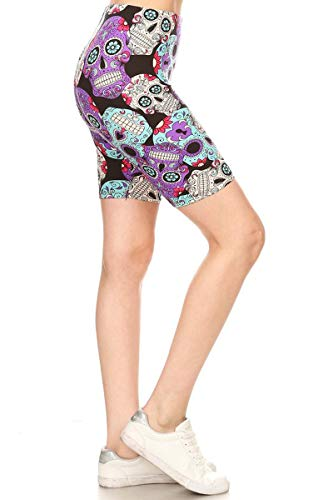 Leggings Depot LBK-R864-M Purple Sugar Skull Printed Biker Shorts, Medium