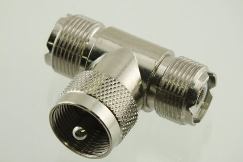 Series Coax Adapter UHF Tee Male to Double Female - by W5SWL Brand (NOT FOR TV) ()