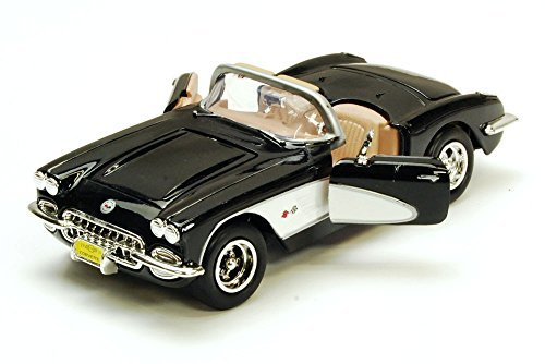 (Motor Max 1959 Chevy Corvette Convertible, Black - Motormax 73216 - 1/24 Scale Diecast Model Toy Car)