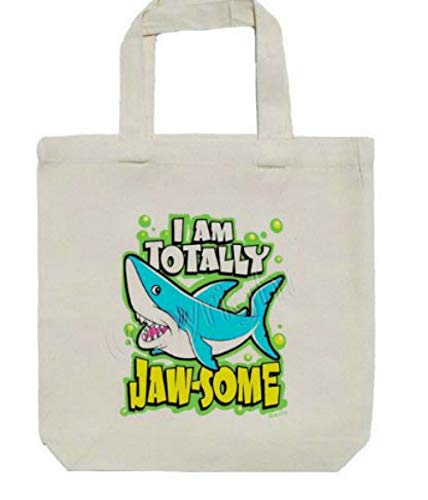 """I am Totally Jaw-some! Shark Encouragement Childs Childrens Size Canvas Tote Bag, Books, Toys, Crafts, 13"""" X 13"""" x 3"""" from All My Favorite Things 3"""