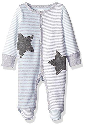 (Mud Pie Baby Boy One Piece Footed Sleeper, Star Blue, 0-3 Months)