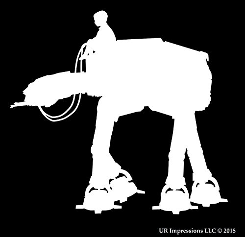 UR Impressions Boy Riding at-at Walker Decal Vinyl Sticker Graphics for Cars Trucks SUV Vans Walls Windows Laptop|White|5.5 X 5.3 -