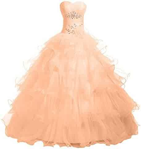 97f5e5ca12 Yuxin Pink Organza Sweetheart Ruffles Prom Quinceanera Dress Beaded Long  Formal Ball Gown Party Dresses