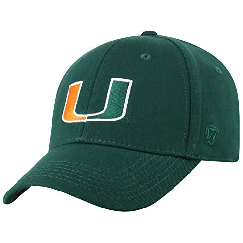 Miami Hat Top - Top of the World Miami Hurricanes Men's Memory Fit Hat Icon, Green, One Fit