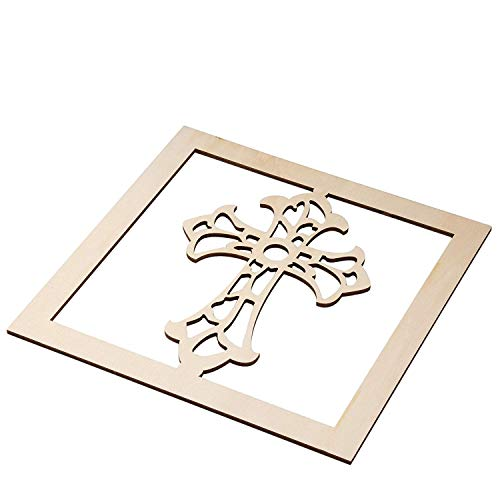 Genie Crafts 2-Piece Unfinished Wooden Cross Cutout, Wall Art Decor for Painting, DIY Wood Crafts, and Signs, 11.6 x 0.2 Inches -
