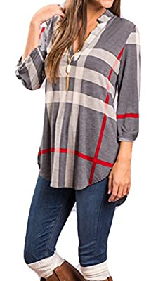 POGTMM Women's Casual Plaid V-Neck Loose Shirts Long Sleeve Tunic Blouses Tops