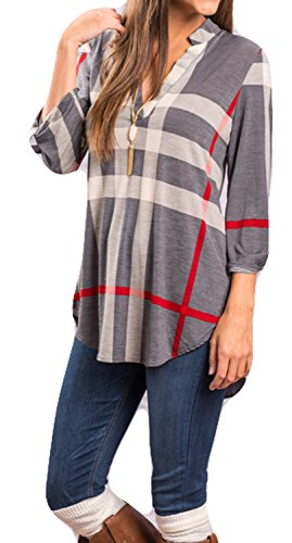 POGTMM Womens Casual Plaid V-Neck Loose Shirts Long Sleeve Tunic Blouses Tops