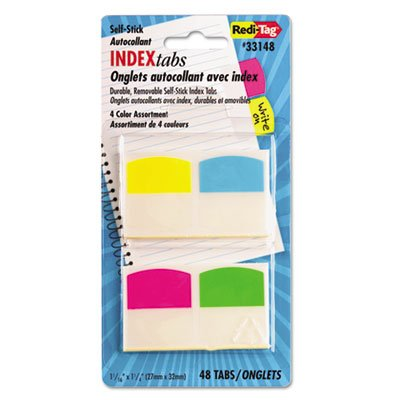 Redi-Tag Products - Redi-Tag - Write-On Self-Stick Index Tabs/Flags, 1 1/16 in, 4 Colors, 48/Pack - Sold As 1 Pack - Write-on tabs accept pen, pencil or permanent marker. - Heavy-duty plastic tabs wont curl or tear. - Self-stick, repositionable and remov ()