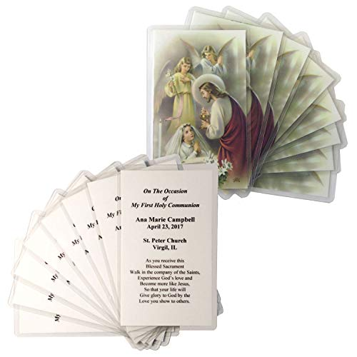 16 Personalized Girls First Communion Holy Cards (First Communion Girl)