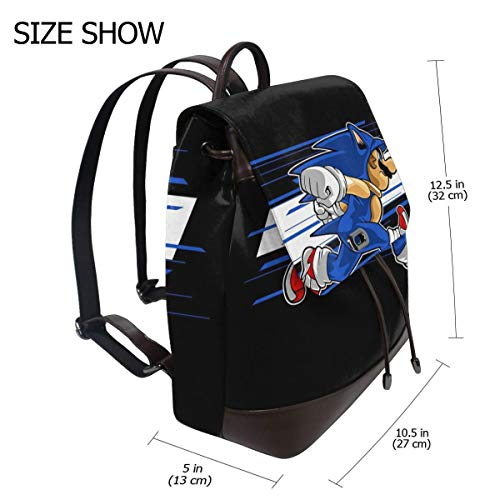 (Su-per Ma-rio Sonic The Hedgehog Onesie Fashion Design Leather Backpack For Women Men College School Bookbag Weekend Travel Daypack)