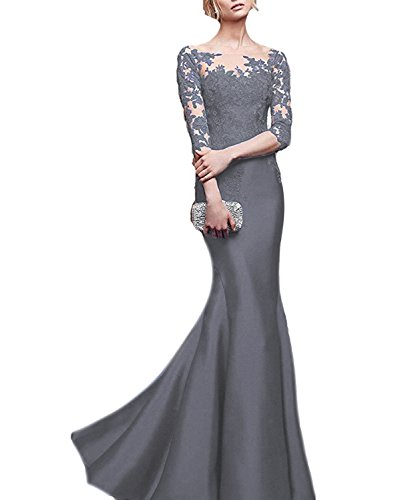 Celebrity Wedding Gowns (OYISHA Womens 3/4 Sleeve Mermaid Evening Celebrity Dresses Long Formal Gown EV45 Gray)