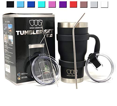 30 oz Tumbler - 6 Piece Stainless Steel Insulated Water & Coffee Cup Tumbler with Straw, 2 Lids, Handle - 18/8 Double Vacuum Insulated Travel Flask (Black, ()