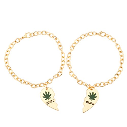 Lux Accessories Best Buds Heart 420 Weed Marijuana BFF Best Friends Forever Bracelet Set (2 (Pokemon Friendship Bracelet)