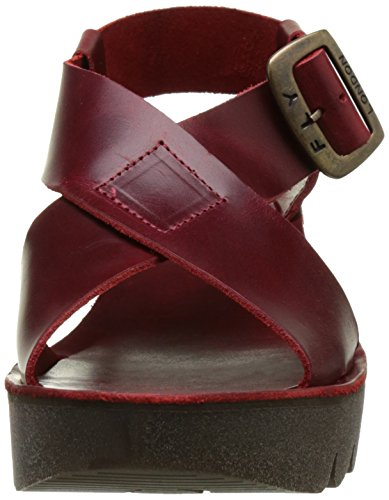 Fly London Womens Yild880fly Sandalo Con Zeppa Rosso Tigrato