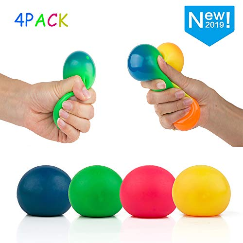 4Pcs Colorful Stress Squeeze Ball Toy - Relieve Stress Sensory Relief for Tension and Anxiety , Perfect for Adults to Relieve Stress , Children -