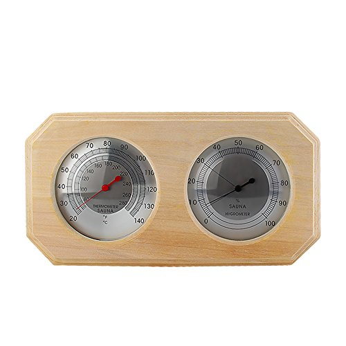 Finnish Sauna Accessories (Eleoption Wooden Sauna Hygrothermograph Thermometer Hygrometer Sauna Room Accessory (Square) (A))