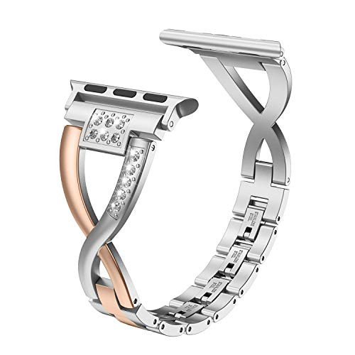 Color Metal Band - Wearlizer Bling Silver Band Compatible with Apple Watch Straps 38mm 40mm Womens iWatch Color Matching Deep Rose Gold Rhinestone Replacement Steel X Wristband Beauty Dress Metal Bracelet Series 4 3 2 1
