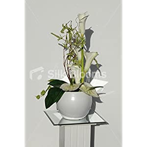 Medium Green & Cream Anthurium & Calla Lily Vase Display 1