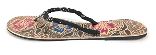Hand-Tooled Leather Sandal Flip Flops, Fair Trade Cruelty Free (8, Floral)