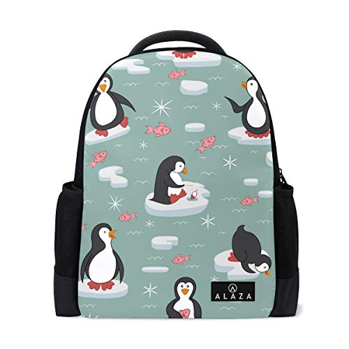 Ice Floes Penguins School Bag Backpack, Snow Red Fish College Book Bags Casual Lightweight Work Travel Daypack Outdoor Camping Hiking Trekking Rucksack Fit Tablet PC 14 Inch Laptop - Penguin Ice Floe