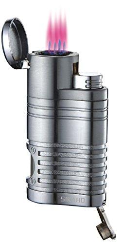 Sikaro Tornado Quad Torch Lighter 06-07-103 Chrome satin w/cigar punch ()