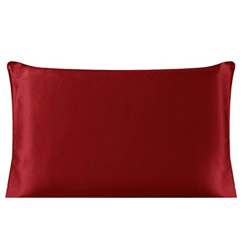 uxcell 100% Pure Mulberry Charmeuse Silk Pillowcase Pillow Case Cover for Hair & Skin 19 Momme King Size 20x36 Inch/51x91cm Burgundy ()