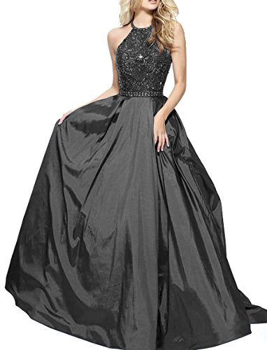 Black Pleated Satin Halter (Nicefashion Women's Vintage Halter Beaded Rhinestone Satin Prom Dress Long Evening Gown Black Plus Size US20W)