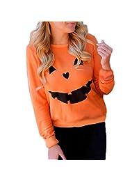 Halloween Women Sweatshirt, Malltop Pumpkin Print O-Neck Long Sleeve Pullover