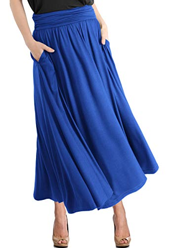 TRENDY UNITED Women's High Waist Fold Over Pocket Shirring Skirt (S0035-RBLU, L)