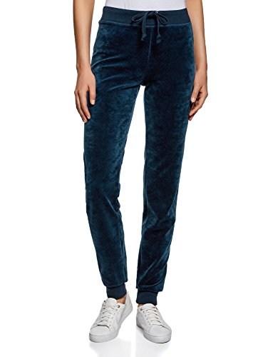 oodji Ultra Mujer Pantalones Deportivos con Cordones Azul (7900N)