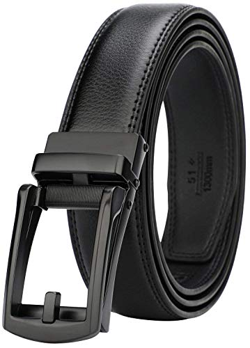 Dante men's Ratchet Click Slide Dress Belt with Genuine Leather,Trim to Fit(32314 Black ()