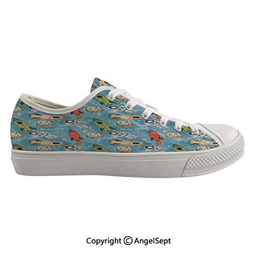 Durable Anti-Slip Sole Washable Canvas Shoes 17.32inch Hand Drawn Astronauts with Rockets and Moon People in The Space Doodle Sketch Style Decorative,Multicolor Flexible and Soft Nice Gift (Best Shoes For Flat Footed Person)