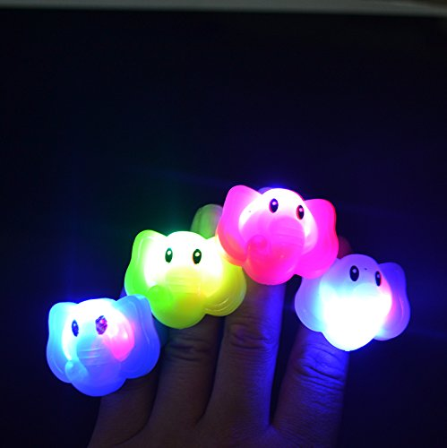 Mammoth Sales LED Light Up Flashing Animal Party Favor Rings - Various Styles (Elephants) ()