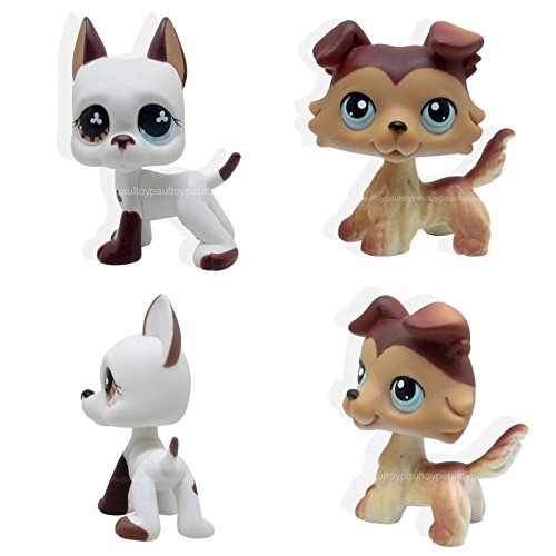 tongrou 2pcs #58 #577 Littlest Pet Shop Brown Collie Puppy White Great Dane Dog LPS