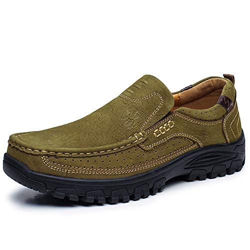 Blanda Genuino de Ahuecar Libre Cuero los Aire Respirable Verde Suela de Holgazanes para Zapatos al Hombres TpFqT6v