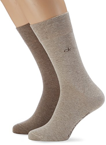 Calvin Klein Men's 2-Pack Flat-Knit Socks, Brown/Beige Medium/large (Calvin Klein Knit Socks)