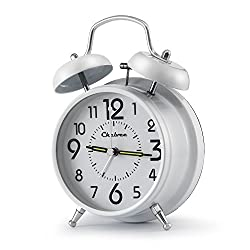 Chelvee 4 Inch Antique Twin Bell Analog Quartz Alarm Clock with Nightlight, Silent Clock Mechanism, Non Ticking, Loud Alarm Bell, Battery Operated. (White)