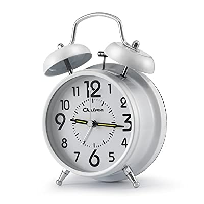 "Chelvee(TM) 4"" Antique Twin Bell Analog Quartz Alarm Clock with Nightlight, Silent Clock Mechanism, Non Ticking, Loud Alarm Bell, Battery Operated. -  - clocks, bedroom-decor, bedroom - 41TWYS28w3L. SS400  -"