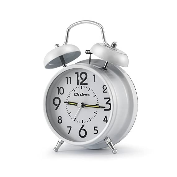 Chelvee Alarm Clock,3 inches Quartz Analog Desk Alarm Clock, Silent No Ticking,Battery Operated - ★VINTAGE STYLE - This Desk Alarm Clock harmonious collocate with your desk and bedroom. Can be used as a living room decor and bedroom decor. Suitable for kids, girls, boys, men, women, junior or senior. ★QUIET ALARM CLOCK - Made from high quality material, small and exquisite appearance. Hour hand, minute hand and second hand work closely together, there is no ticking. Perfect for working and learning, also for a soothing sleep. ★HIGH PRECISION - Basic alarm clock's black hour and minute hands with perfect accuracy offer an awesome legible time. The error in a month is less than a second. Power only requires a 1.5v AAA battery. - clocks, bedroom-decor, bedroom - 41TWYS28w3L. SS570  -