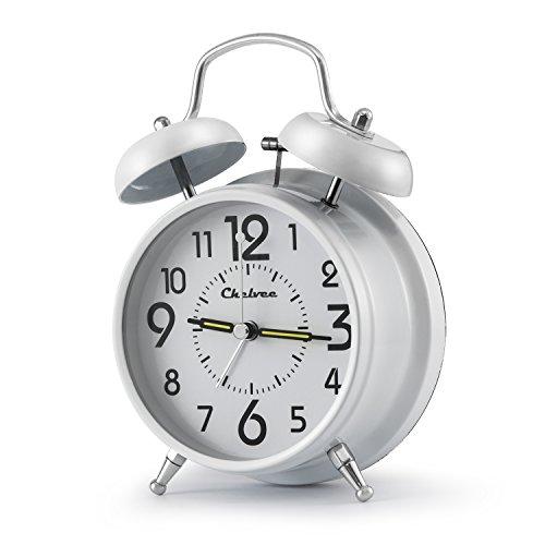 "41TWYS28w3L - Chelvee(TM) 4"" Antique Twin Bell Analog Quartz Alarm Clock with Nightlight, Silent Clock Mechanism, Non Ticking, Loud Alarm Bell, Battery Operated."