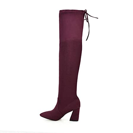 a6d29bff545 Women Boots Flock Leather Over Knee Lace Up High Heels Shoes Winter Boots  (Color   Red wine