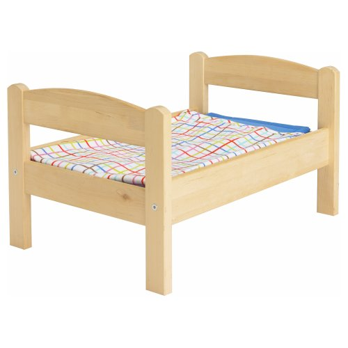 Ikeas DUKTIG Doll bed with bedlinen set, pine, multicolor (Wood Doll Bed)