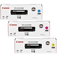 Canon 118 3 Pack Color Laser Cartridges - Cyan (2661B001AA),  Magenta (2660B001AA), Yellow (2659B001AA) Cartridges