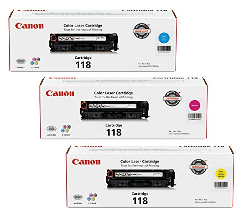 Canon 118 3 Pack Color Laser Cartridges - Cyan (2661B001AA),  Magenta (2660B001AA), Yellow (2659B001AA) ()