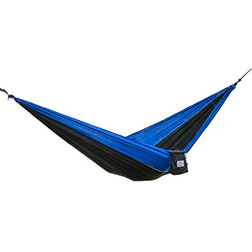 (OuterEQ Portable Nylon Fabric Travel Camping Hammock Blue/Black)