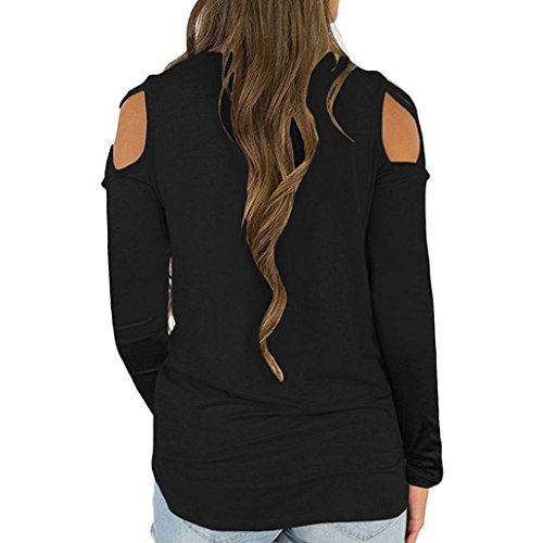 0051bc43 CUCUHAM Women Summer Short Sleeve Strappy Cold Shoulder T-Shirt Tops (M,  Z-Black)