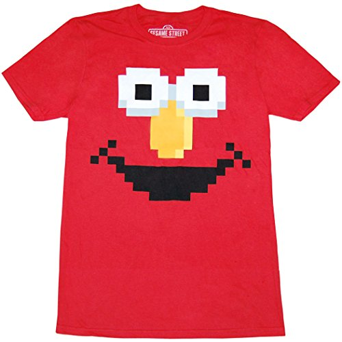 Sesame Street Elmo Face Adult T-Shirt (Small, Red)